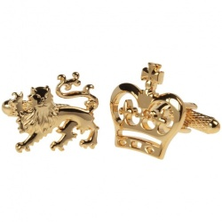 Lion Crest and Crown Cufflinks